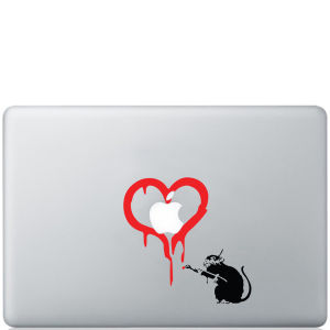 Banksy Rat Loves Apple Macbook Decal