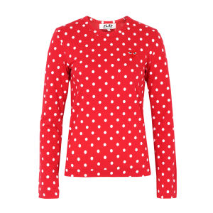 Comme des Garcons PLAY Women's T165 Polka Dot Top - Red & White