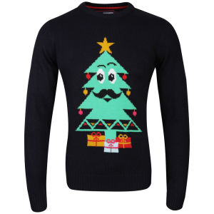 Christmas Branding Tree Knitted Jumper - Dark Navy