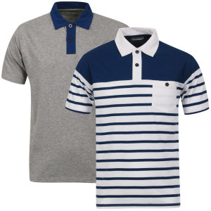 Tom Frank Men's 2-Pack Polo Shirt - Grey Marl Solid & Navy Stripe