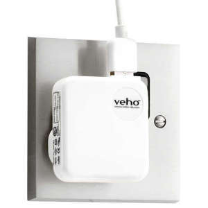 Veho UK Mains USB Charger Adaptor for iPhone, iPod, iPad, USB - White