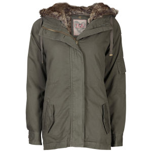 IL2L Women's Fur Trimmed Parka Jacket - Khaki