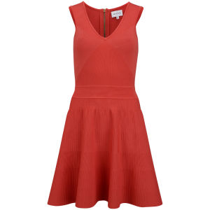 MILLY Women's Angled Rip Stretch Flare Dress - Tomato