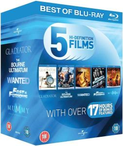 Blu-Ray Starter Pack: Gladiator / The Bourne Ultimatum / Wanted / Fast and Furious / The Mummy: Tomb of the Dragon Emperor