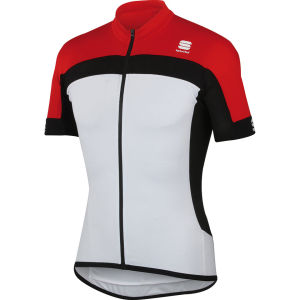 Sportful Pista Short Sleeve Jersey - White/Red