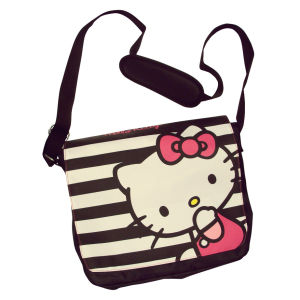 Hello Kitty Striped Messenger Bag - Black