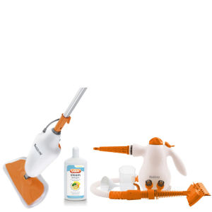 Beldray Steam Bundle - Orange (inc 1500W Steam Mop, 1000W Handheld Steamer, and VAX 500ml Steam Cleaning Solution)