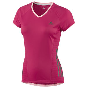 Adidas Women's Super Nova Short Sleeve Tee Shirt - Vivid Berry/Glow Pink
