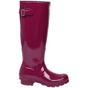 Hunter Women's Original Back Adjustable Gloss Wellington Boots - Purple