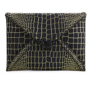 McQ Alexander McQueen Leather Snake Clutch - Citrus/Black