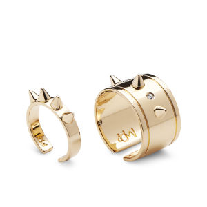 Maria Francesca Pepe Spikes and Swarovski Set of Band and Midi Rings - Gold