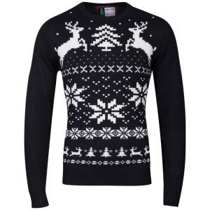 Christmas Branding Snowflake Knitted Jumper - Dark Navy