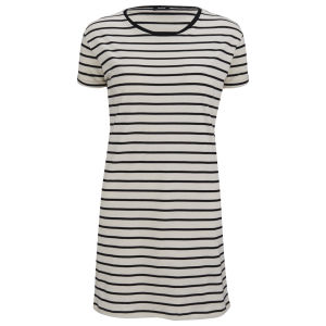 Denham Women's Striped Jersey T-Shirt Dress - Chalk