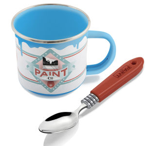 Paint Pot Mug and Brush Spoon Set - Blue