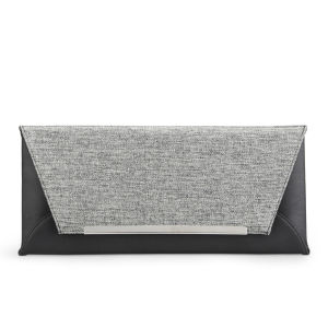 French Connection Women's Freya Tweed Mix Clutch - Black/Grey Weave