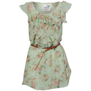 Sakura Women's Floral Dress with Belt - Mint