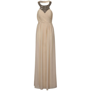 Little Mistress Women's Neck Embellished Maxi Prom Dress - Cream