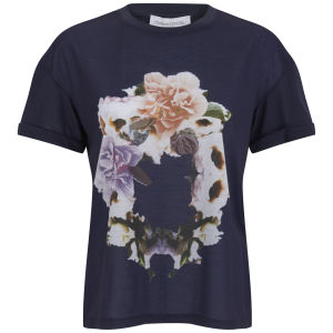 Finders Keepers Women's Rose Print T-Shirt - Print/Navy