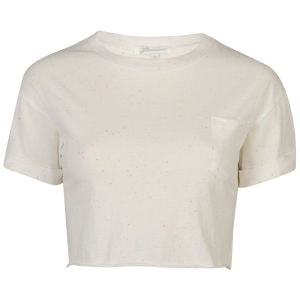 Glamorous Women's Crop Turn Cuff T-Shirt With Pocket - Cream