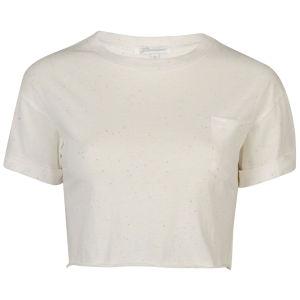 Glamorous Women's Crop Turn Cuff T-Shirt With Pocket - Cream