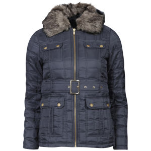 Brave Soul Women's Quilted Belted Jacket with Fur Trim - Navy