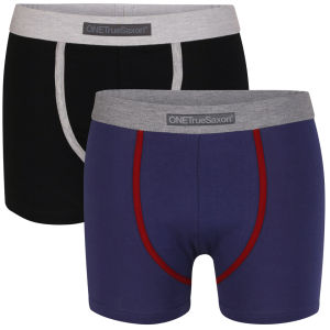 One True Saxon Men's Two Pack Boxers - Black/Navy
