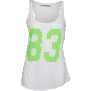 Brave Soul Women's Fluorescent Printed Vest - White/Lime