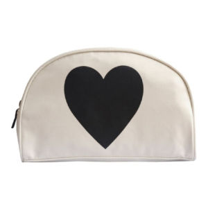 Alphabet Bags Black Heart Wash Bag