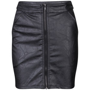 Influence Women's PU Leather Look Mini Skirt - Black