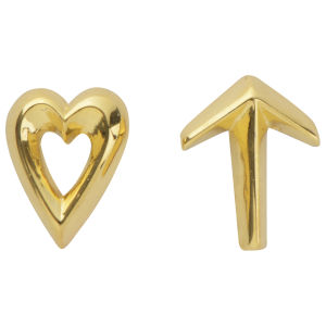 Daisy Knights Heart and Arrow Stud Earrings - Gold