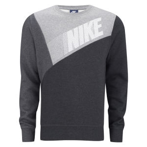 Nike Men's Club Crew Neck Colour Block Sweater - Black/Grey