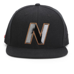 New Balance Unisex Snap 6 Panel Flat Peak Baseball Cap - Acrylic Black/Brown