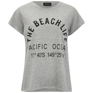 VILA Women's Beach Life T-Shirt - Grey