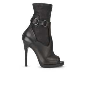 McQ Alexander McQueen Women's Lara Sock Open Toe Leather Boots - Black