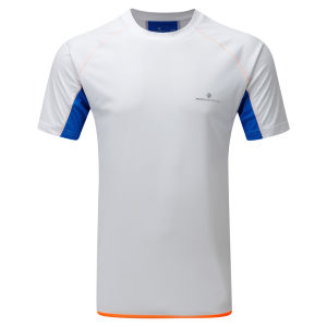 RonHill Men's Advance Short Sleeve Running T-Shirt - White/Electric Blue