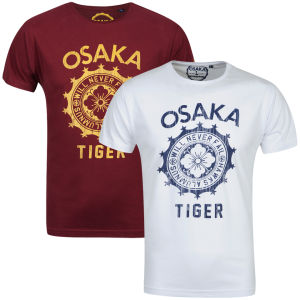 Osaka Men's Never Fail 2-Pack T-Shirts - White/Navy & Burgundy/Yellow