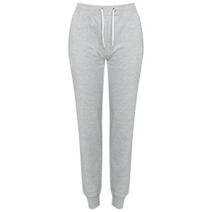 Brave Soul Women's Cuffed Sweatpant Joggers -  Light Grey Marl