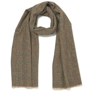Knutsford Men's Textured Marl Cashmere Scarf - Rust/Green