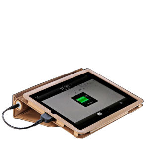Veho Pebble Folio Case with 6600mah Battery Charger and Stand - Tan