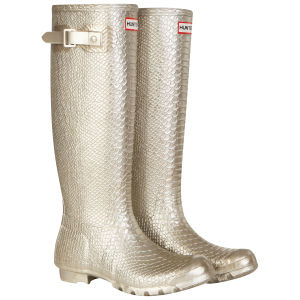 Hunter Women's Carnaby Boa Snake Tall Wellies - Gold