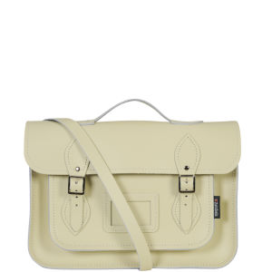 Zatchels 13 Inch Pastel Leather Satchel with Handle - Cream
