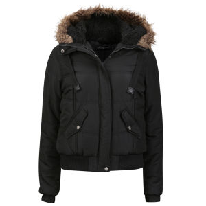 Arctic Story Women's Fur Trim Coat - Black