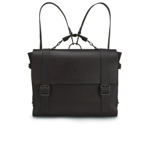 Knutsford Men's Wax Cotton and Leather Satchel - Dark Brown