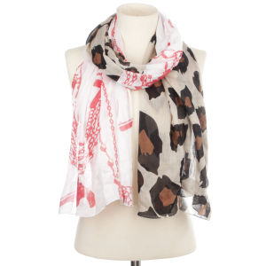 Codello Rainbow Rocker Leo and Chains Printed Scarf - Orange