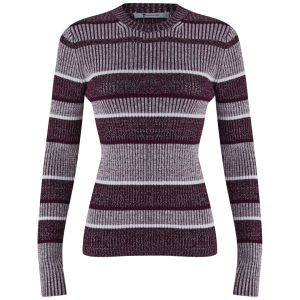 T by Alexander Wang Women's Rib Mock Neck Knitted Jumper - Bordeaux