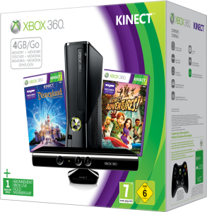 Xbox 360 4GB Kinect Holiday Bundle (Includes Kinect Adventures, Kinect Disney Land Adventures, 1 Month Xbox Live)
