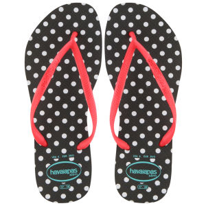 Havaianas Women's Slim Fresh Polka Dot Flip Flops - Black