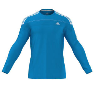 adidas Men's Response Long Sleeve Running Tee Shirt - Solar Blue/White
