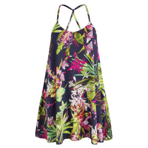 AX Paris Women's Tropical Print Swing Dress - Navy
