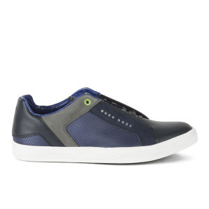 Allsole BOSS Green Men's Attain Leather Trainers - Navy - AllSole